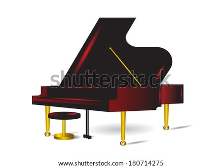 Musical instrument of a piano with a stool on a white background. - stock vector