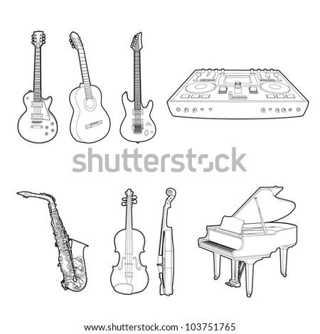 Musical instrument set - stock vector