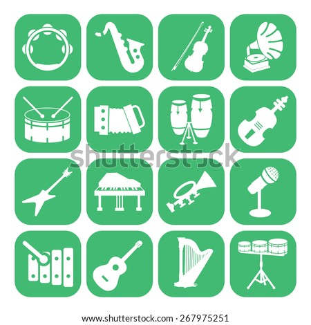 Musical Instrument Set Collection piano guitar drum microphone - stock vector