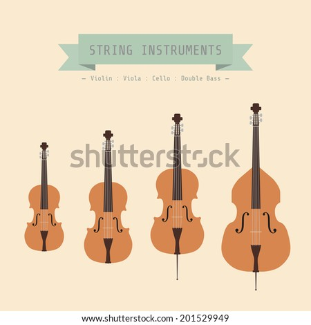 Musical Instrument String, Violin, Viola, Cello and Double Bass, flat style - stock vector