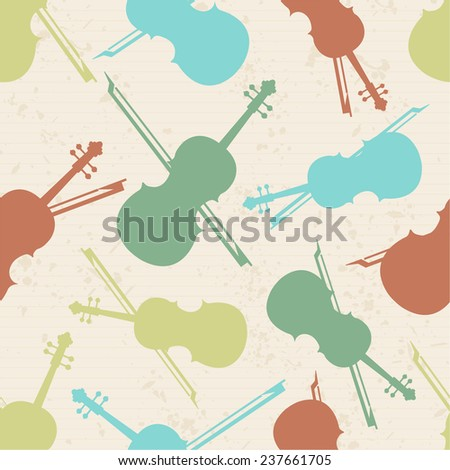 Musical instrument violin and bow with seamless pattern. - stock vector