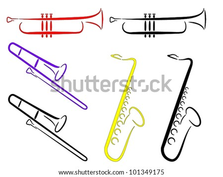 Musical Instruments - Abstract. (Vector). 3 musical instruments - Saxophone, Trombone and Trumpet. - stock vector