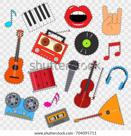Musical Instruments And Equipment Sticker Set On A Transparent Background Include Of Guitar Keyboard
