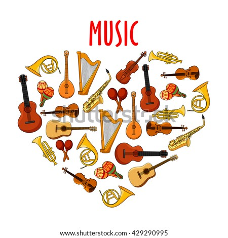Musical instruments arranged into heart shape with guitars and violins, saxophones and trumpets, horns and harps, maracas and banjo mandolins. Music theme or arts, music and entertainment design - stock vector