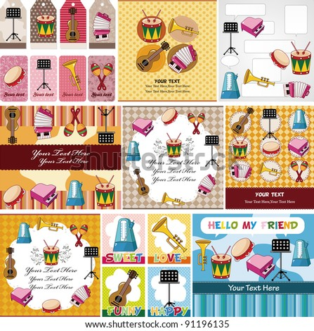 Musical instruments card - stock vector