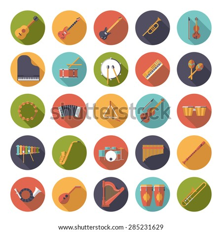 Musical Instruments Circular Flat Design Vector Icons Collection. Set of 25 musical instruments icons in circles, flat design, long shadow. - stock vector
