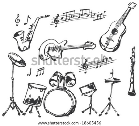 Musical instruments doodles - stock vector