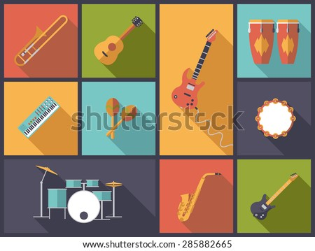Musical Instruments for Pop, Jazz and Rock icons vector illustration. Flat design illustration with a variety of icons of musical instruments for popular music - stock vector