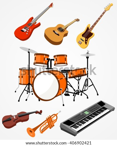 Musical instruments: guitar, drum set, violin, trumpet and synthesizer - stock vector