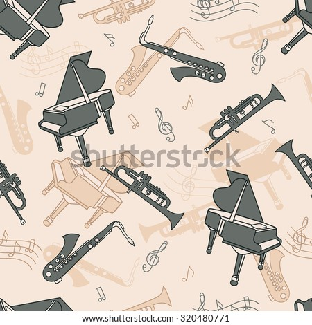 Musical instruments hand drawn seamless pattern. Doodle background vector - stock vector