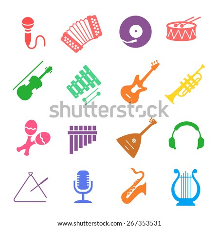 Musical instruments icon  vector colored set - stock vector