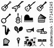 musical instruments icons - stock vector