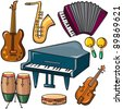 Musical instruments icons set - stock vector