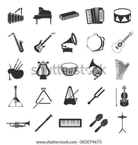Musical instruments icons set. - stock vector