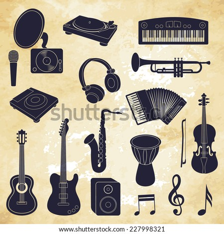 musical instruments icons. Vector illustration - stock vector