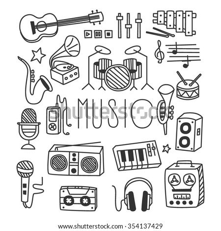 Musical Instruments in Hand drawn Style. Vector Illustration Set - stock vector