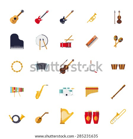 Musical Instruments Isolated Flat Design Vector Icons Collection. Set of 25 musical instruments icons, flat design, on white background. - stock vector