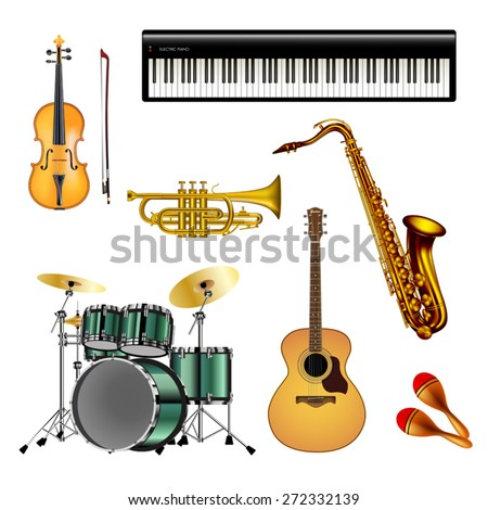 Musical instruments isolated on white background. Vector illustration. - stock vector