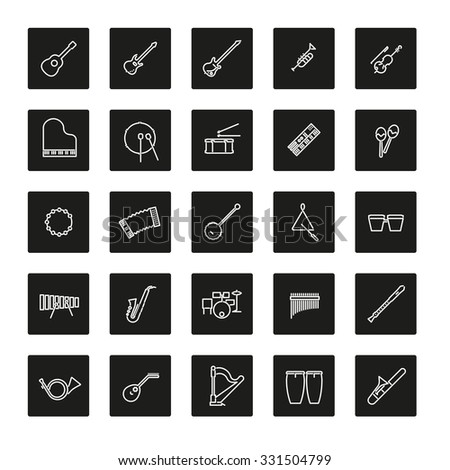 Musical Instruments Line Icon Set. Collection of 25 musical instruments line icons in colored rounded squares - stock vector