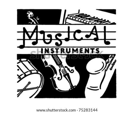Musical Instruments - Retro Ad Art Banner - stock vector
