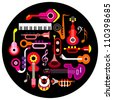Musical instruments - round vector illustration on black background. Isolated icon set. - stock