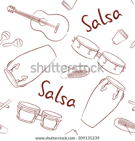Musical instruments salsa hand drawn vector pattern