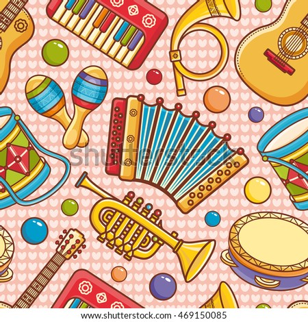 Musical instruments. Seamless pattern.  Baby toy - guitar, tambourine, maracas, drum, piano, trumpet, post horn, accordion. Cartoon style. Vector