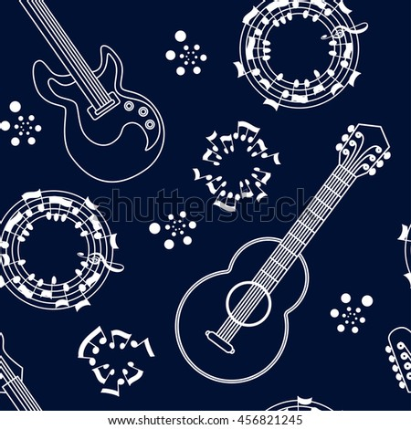 Musical instruments seamless pattern background. Guitars and notes. Musical string instruments. Vector illustration - stock vector
