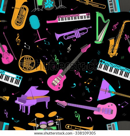 Musical instruments seamless pattern. Vector illustration - stock vector