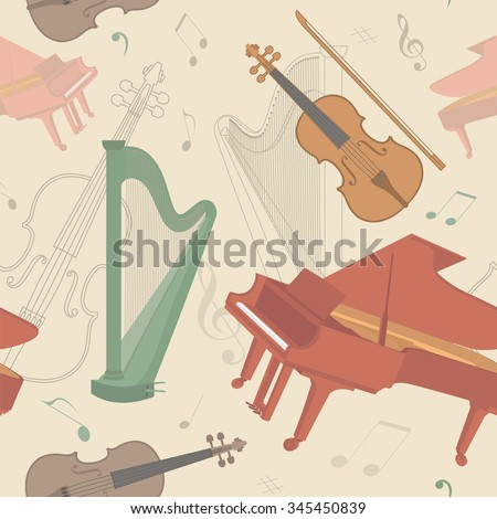Musical instruments seamless pattern. Vector illustration
