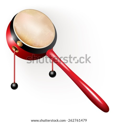 Musical instruments series. Traditional Japanese den-den daiko, isolated on white background. Vector illustration - stock vector