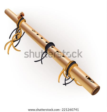 Musical instruments series. Traditional Native American flute, isolated on white background. Vector illustration - stock vector