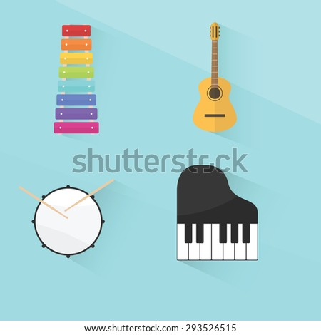 musical instruments set. flat design - stock vector