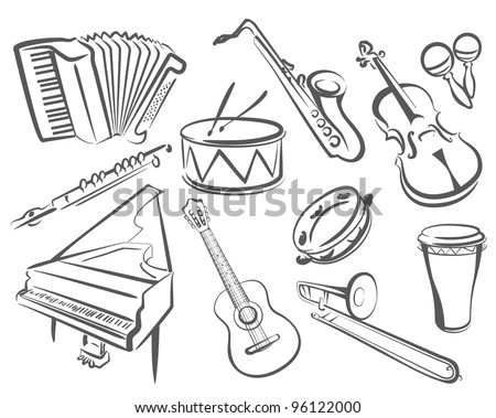 musical instruments set of icons in simple lines - stock vector