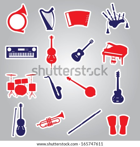musical instruments stickers eps10 - stock vector