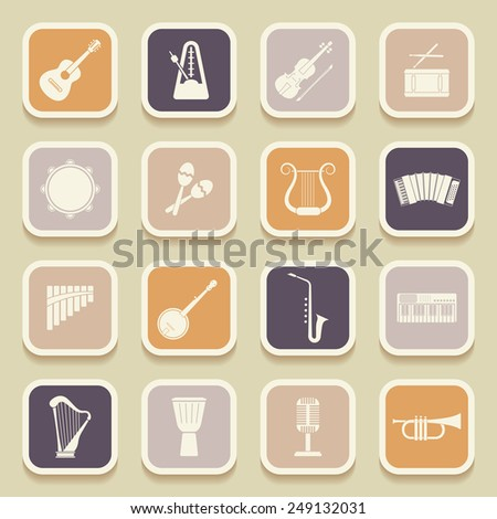 Musical instruments universal icons for web and mobile applications. Vector illustration - stock vector