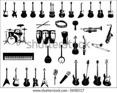 musical instruments vector - stock vector