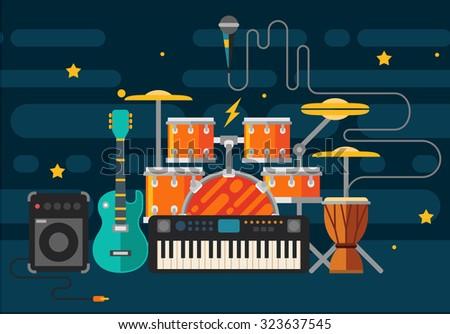 Musical instruments. Vector flat illustration - stock vector