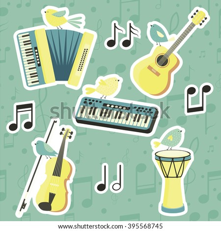 Musical instruments. Vector set. Music. Guitar, violin, accordion, drum. Cute stickers with musical instruments and birds - stock vector