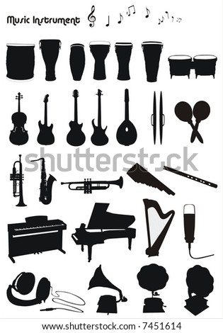 musical instruments vector shapes - stock vector