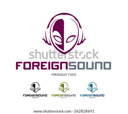 Musical logo design template. Abstract alien head shape with headphones. Vector art. - stock vector