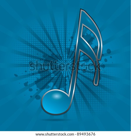 Musical note symbol blue dynamic background, vector illustration - stock vector