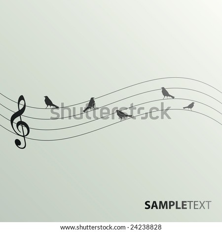Musical note with birds on a wire - stock vector