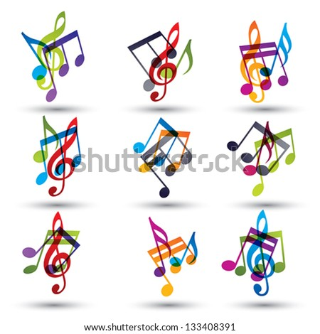 Musical notes abstract icons set, vectors. - stock vector