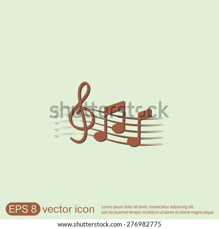 Musical notes and treble clef. Symbol muzykiki. Icon art and musicality