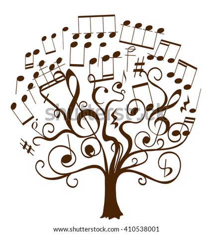 musical notes as leaves on a tree abstract illustration - stock vector
