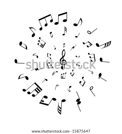 Musical notes background in circle shape. Vector illustration.