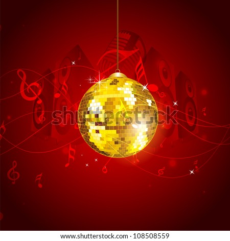 Musical notes background with disco ball. EPS 10. - stock vector