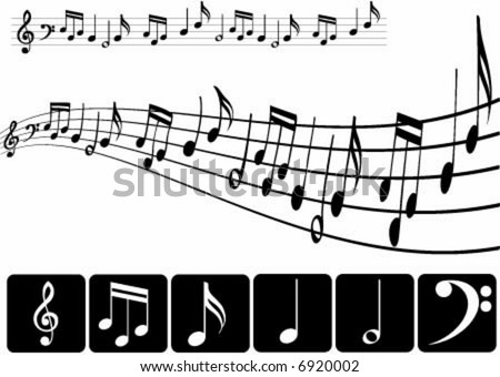 Musical notes design in two ways - stock vector