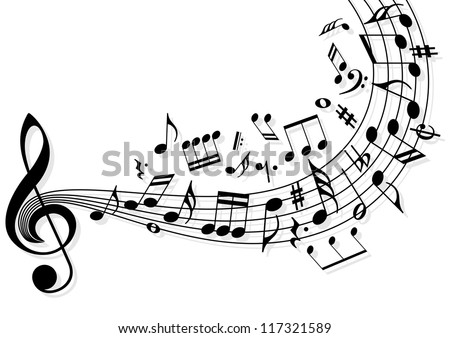 Musical notes flying over the stave - stock vector